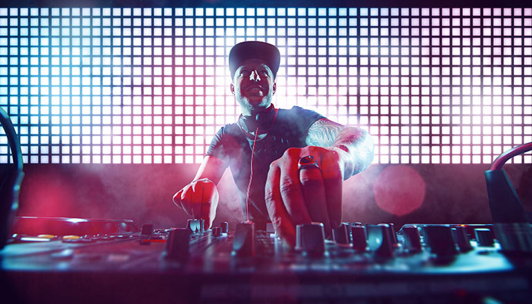 Playing DJ in party